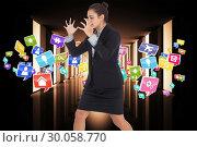 Купить «Composite image of angry businesswoman gesturing», фото № 30058770, снято 11 декабря 2013 г. (c) Wavebreak Media / Фотобанк Лори