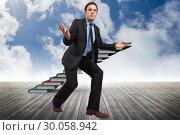 Купить «Composite image of businessman posing with arms outstretched», фото № 30058942, снято 11 декабря 2013 г. (c) Wavebreak Media / Фотобанк Лори