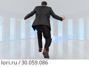 Купить «Composite image of businessman posing with arms outstretched», фото № 30059086, снято 11 декабря 2013 г. (c) Wavebreak Media / Фотобанк Лори