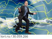 Купить «Composite image of businessman posing with arms outstretched», фото № 30059266, снято 11 декабря 2013 г. (c) Wavebreak Media / Фотобанк Лори