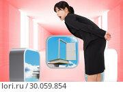 Composite image of surprised businesswoman bending. Стоковое фото, агентство Wavebreak Media / Фотобанк Лори
