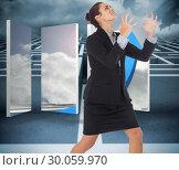 Купить «Composite image of angry businesswoman gesturing», фото № 30059970, снято 10 января 2014 г. (c) Wavebreak Media / Фотобанк Лори