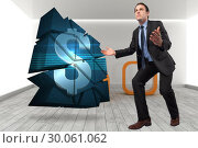 Купить «Composite image of businessman posing with arms outstretched», фото № 30061062, снято 10 января 2014 г. (c) Wavebreak Media / Фотобанк Лори