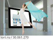 Купить «Composite image of young beautiful female dancer with blue scarf», фото № 30061270, снято 10 января 2014 г. (c) Wavebreak Media / Фотобанк Лори