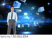 Купить «Composite image of serious businessman standing with hand in pocket», фото № 30062854, снято 11 января 2014 г. (c) Wavebreak Media / Фотобанк Лори