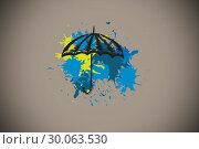 Купить «Composite image of umbrella on paint splashes», фото № 30063530, снято 11 января 2014 г. (c) Wavebreak Media / Фотобанк Лори