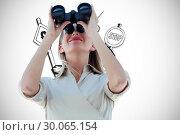 Купить «Composite image of businesswoman looking through binoculars», фото № 30065154, снято 11 января 2014 г. (c) Wavebreak Media / Фотобанк Лори