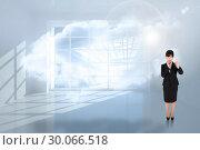 Купить «Composite image of thoughtful businesswoman pointing», фото № 30066518, снято 15 января 2014 г. (c) Wavebreak Media / Фотобанк Лори