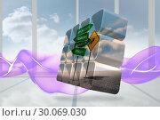 Купить «Composite image of signposts on abstract screen», фото № 30069030, снято 30 января 2014 г. (c) Wavebreak Media / Фотобанк Лори