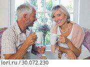 Купить «Smiling mature couple with coffee cups», фото № 30072230, снято 6 декабря 2013 г. (c) Wavebreak Media / Фотобанк Лори