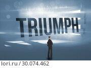 Купить «Triumph against digitally generated room with bordered up window», фото № 30074462, снято 21 марта 2014 г. (c) Wavebreak Media / Фотобанк Лори