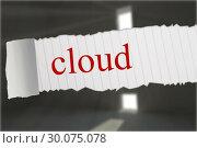 Купить «Cloud against grey room with exclamation mark door», фото № 30075078, снято 22 марта 2014 г. (c) Wavebreak Media / Фотобанк Лори
