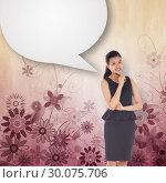 Купить «Composite image of thoughtful asian businesswoman with speech bubble», фото № 30075706, снято 22 марта 2014 г. (c) Wavebreak Media / Фотобанк Лори