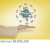 Купить «Composite image of female hand presenting global travel graphic», фото № 30076210, снято 22 марта 2014 г. (c) Wavebreak Media / Фотобанк Лори