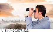 Купить «Composite image of visionary businessman looking to the future», фото № 30077822, снято 25 марта 2014 г. (c) Wavebreak Media / Фотобанк Лори