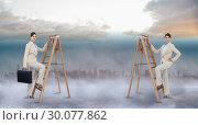 Купить «Composite image of multiple image of businesswoman climbing ladder», фото № 30077862, снято 25 марта 2014 г. (c) Wavebreak Media / Фотобанк Лори