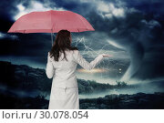 Купить «Composite image of businesswoman holding umbrella», фото № 30078054, снято 28 марта 2014 г. (c) Wavebreak Media / Фотобанк Лори