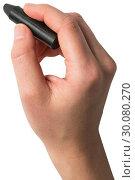 Hand holding black crayon. Стоковое фото, агентство Wavebreak Media / Фотобанк Лори