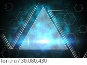 Купить «Blue and black triangle design», фото № 30080430, снято 8 мая 2014 г. (c) Wavebreak Media / Фотобанк Лори