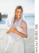 Купить «Beautiful blonde in white sundress and scarf on the beach», фото № 30081106, снято 12 февраля 2014 г. (c) Wavebreak Media / Фотобанк Лори
