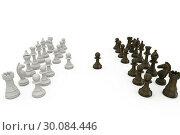Купить «Wooden chess pieces facing off », фото № 30084446, снято 27 мая 2014 г. (c) Wavebreak Media / Фотобанк Лори