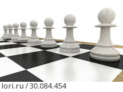 Купить «White chess pawns on board», фото № 30084454, снято 27 мая 2014 г. (c) Wavebreak Media / Фотобанк Лори