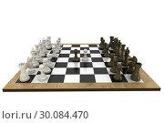 Купить «Chess pieces facing off on board», фото № 30084470, снято 27 мая 2014 г. (c) Wavebreak Media / Фотобанк Лори