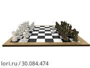 Купить «Chess pieces facing off on board», фото № 30084474, снято 27 мая 2014 г. (c) Wavebreak Media / Фотобанк Лори