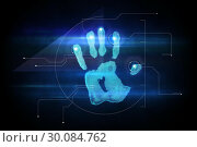 Купить «Digital security hand print scan», фото № 30084762, снято 29 мая 2014 г. (c) Wavebreak Media / Фотобанк Лори