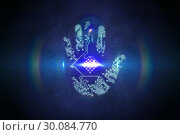 Купить «Digital security hand print scan», фото № 30084770, снято 29 мая 2014 г. (c) Wavebreak Media / Фотобанк Лори