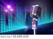 Купить «Composite image of retro chrome microphone», фото № 30085630, снято 11 июня 2014 г. (c) Wavebreak Media / Фотобанк Лори
