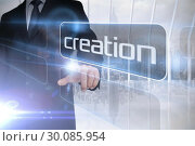 Купить «Businessman presenting the word creation», фото № 30085954, снято 11 июня 2014 г. (c) Wavebreak Media / Фотобанк Лори