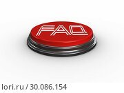 Купить «Faq against digitally generated red push button», фото № 30086154, снято 11 июня 2014 г. (c) Wavebreak Media / Фотобанк Лори