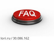 Купить «Faq against digitally generated red push button», фото № 30086162, снято 11 июня 2014 г. (c) Wavebreak Media / Фотобанк Лори