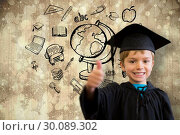 Купить «Composite image of cute pupil in graduation robe», фото № 30089302, снято 7 августа 2014 г. (c) Wavebreak Media / Фотобанк Лори