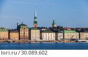 Купить «Gamla Stan district in central Stockholm», фото № 30089602, снято 4 мая 2016 г. (c) EugeneSergeev / Фотобанк Лори