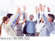 Купить «Business team raising their hands», фото № 30090522, снято 6 мая 2014 г. (c) Wavebreak Media / Фотобанк Лори