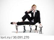 Купить «Composite image of business team supporting boss», фото № 30091270, снято 22 августа 2014 г. (c) Wavebreak Media / Фотобанк Лори
