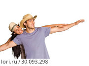 Купить «Man giving his pretty girlfriend a piggy back», фото № 30093298, снято 2 июля 2014 г. (c) Wavebreak Media / Фотобанк Лори