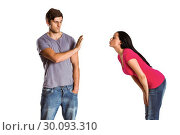 Купить «Man rebuffing the kiss of his girlfriend», фото № 30093310, снято 2 июля 2014 г. (c) Wavebreak Media / Фотобанк Лори