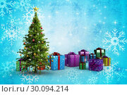 Купить «Composite image of christmas tree and presents», фото № 30094214, снято 26 августа 2014 г. (c) Wavebreak Media / Фотобанк Лори