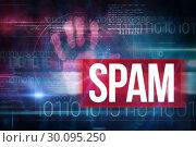 Купить «Spam against blue technology design with binary code», фото № 30095250, снято 28 августа 2014 г. (c) Wavebreak Media / Фотобанк Лори