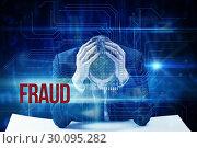 Купить «Fraud against blue technology interface with circuit board», фото № 30095282, снято 28 августа 2014 г. (c) Wavebreak Media / Фотобанк Лори