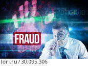 Купить «Fraud against red technology hand print design», фото № 30095306, снято 28 августа 2014 г. (c) Wavebreak Media / Фотобанк Лори