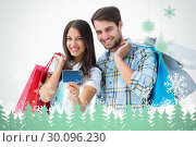 Купить «Composite image of attractive young couple with shopping bags and credit card», фото № 30096230, снято 29 августа 2014 г. (c) Wavebreak Media / Фотобанк Лори