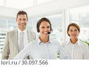 Купить «Confident business people in the office», фото № 30097566, снято 8 мая 2014 г. (c) Wavebreak Media / Фотобанк Лори