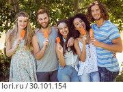 Купить «Hipster friends enjoying ice lollies», фото № 30101154, снято 19 ноября 2014 г. (c) Wavebreak Media / Фотобанк Лори