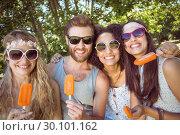 Купить «Hipster friends enjoying ice lollies», фото № 30101162, снято 19 ноября 2014 г. (c) Wavebreak Media / Фотобанк Лори