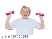 Купить «Senior woman lifting hand weights», фото № 30101618, снято 13 ноября 2014 г. (c) Wavebreak Media / Фотобанк Лори