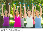 Купить «Fitness group lifting hand weights in park», фото № 30103218, снято 18 ноября 2014 г. (c) Wavebreak Media / Фотобанк Лори